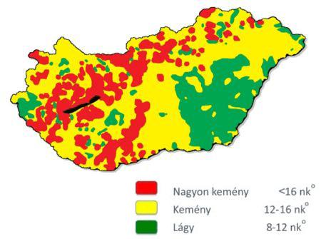 Vízkeménység térkép